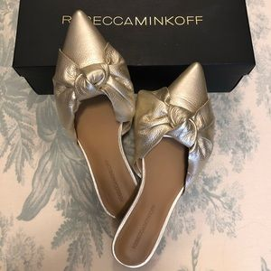 Rebecca Minkoff Alexis Gold Leather Mule